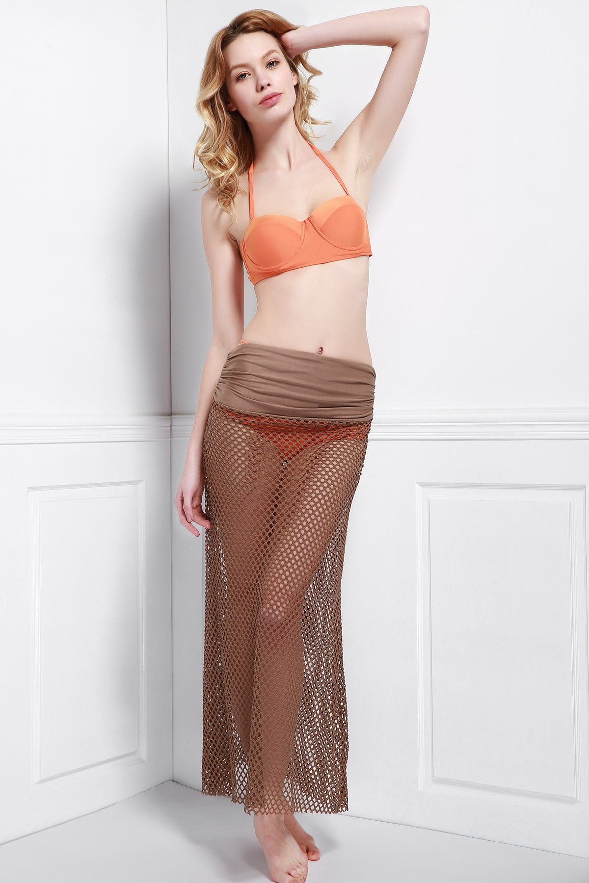 Shops Mesh Hollow Out Swim Skirt Cover Ups