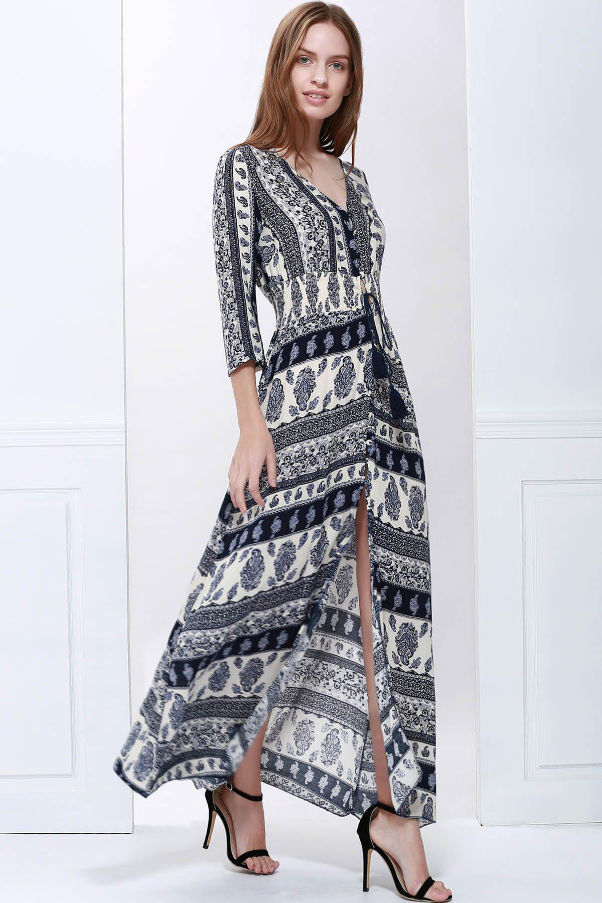 3d7e6974c856 59% OFF] Bohemian Plunging Neck 3/4 Sleeve Printed Women's Maxi ...