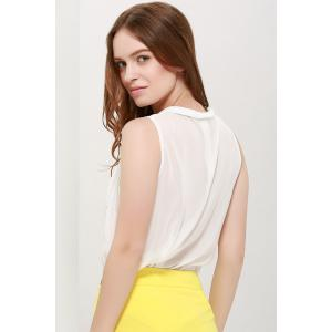 One Pocket Sleeveless Chiffon Shirt - WHITE ONE SIZE