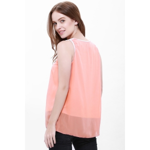 Popular Plus Size Sleeveless Chiffon Women's Summer Blouse - ORANGE S