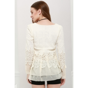 Lace Panel Long Sleeve Casual Top -