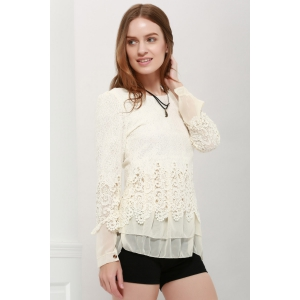 Lace Panel Long Sleeve Casual Top - OFF WHITE L