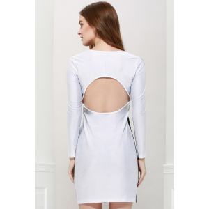 Long Sleeves Round Neck Stitching Hollow Out Backless Packet Buttock Sexy Casual Women's Dress -