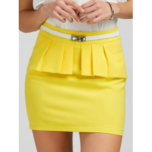 Ruffle Belt Insert Mini Fitted Skirt