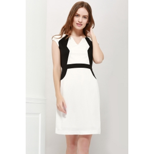 Color Block V-Neck Modern Style Sleeveless Polyester Women's Formal Dress - White And Black - L
