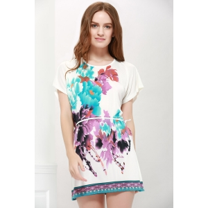 Gorgeous Scoop Neck Bat-Wing Sleeve Floral Print Lace-Up Women 's Blouse