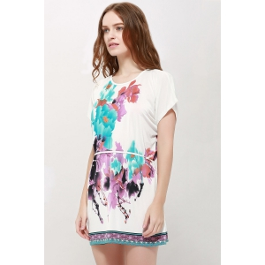 Gorgeous Scoop Neck Bat-Wing Sleeve Floral Print Lace-Up Women 's Blouse - AS THE PICTURE L