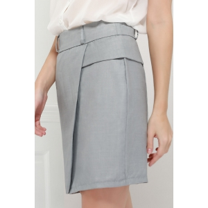 Graceful OL Style Women's Pencil Skirt(With Belt) - GRAY M