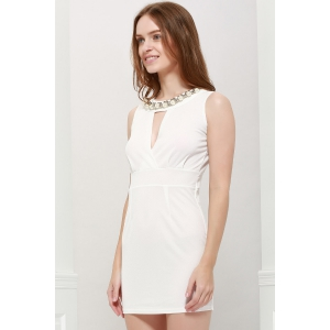 Sexy Plunging Neck Solid Color Bead Embellished Women's Party Dress -
