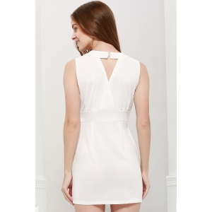 Sexy Plunging Neck Solid Color Bead Embellished Women's Party Dress - WHITE ONE SIZE