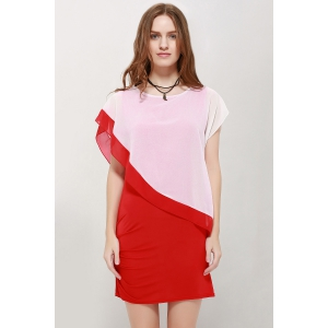 Short Sleeve Scoop Neck Overlay Chiffon Dress