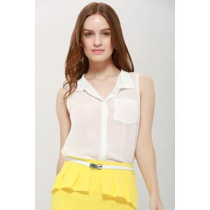 One Pocket Sleeveless Chiffon Shirt