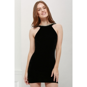 Robe sans manches col rond perles Diamante Backless faisceau taille paquets Fesses Femmes Sexy - Noir TAILLE MOYENNE