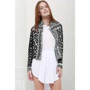 Fashionable Stand Collar Long Sleeves Printed Jacket For Women - Black - S