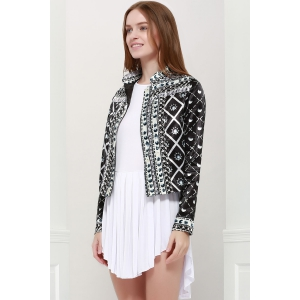 Fashionable Stand Collar Long Sleeves Printed Jacket For Women - BLACK S