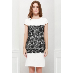 Stylish Round Collar Short Sleeve Lace Spliced Bodycon Women's Dress - White - M