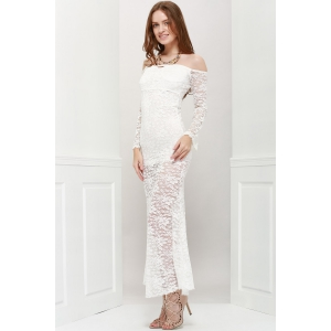 Off Shoulder Maxi Lace Sheer Party Dress - WHITE ONE SIZE