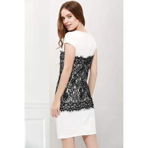 Stylish Round Collar Short Sleeve Lace Spliced Bodycon Women's Dress - WHITE S