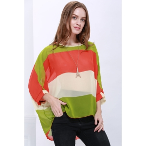 Stylish Scoop Neck Batwing Sleeve Color Splicing Chiffon Blouse For Women