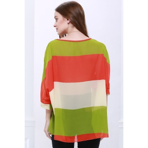 Stylish Scoop Neck Batwing Sleeve Color Splicing Chiffon Blouse For Women -