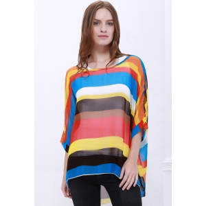 Colorful Stripe Printed Asymmetric Batwing Sleeve Summer Blouse