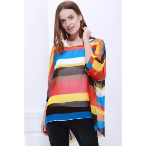 Colorful Stripe Printed Asymmetric Batwing Sleeve Summer Blouse - AS THE PICTURE L