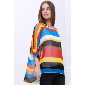 Colorful Stripe Printed Asymmetric Batwing Sleeve Summer Blouse -