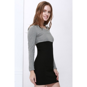Two Tone Long Sleeve Cotton Sheath Dress - BLACK M