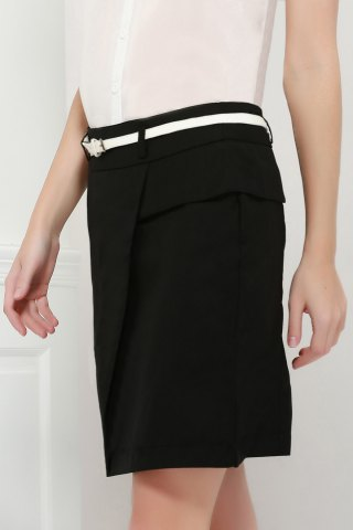 Store Graceful OL Style Women's Pencil Skirt(With Belt) - L BLACK Mobile
