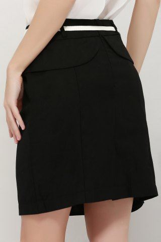 Hot Graceful OL Style Women's Pencil Skirt(With Belt) - L BLACK Mobile