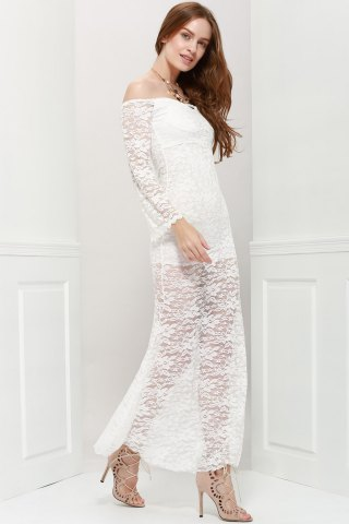 Outfits Off Shoulder Maxi Lace Sheer Party Prom Dress - ONE SIZE WHITE Mobile