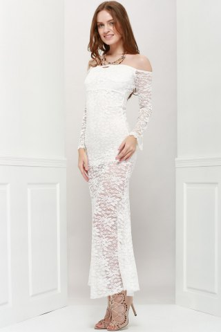 Unique Off Shoulder Maxi Lace Sheer Party Prom Dress - ONE SIZE WHITE Mobile