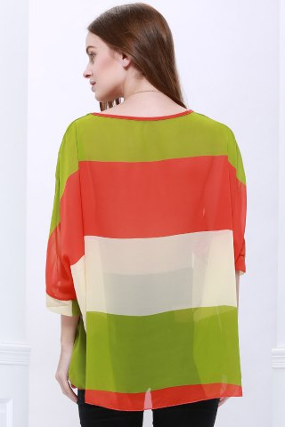 Fashion Stylish Scoop Neck Batwing Sleeve Color Splicing Chiffon Blouse For Women - L COLORMIX Mobile