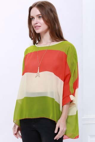 Fancy Stylish Scoop Neck Batwing Sleeve Color Splicing Chiffon Blouse For Women - L COLORMIX Mobile