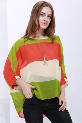 Outfits Stylish Scoop Neck Batwing Sleeve Color Splicing Chiffon Blouse For Women