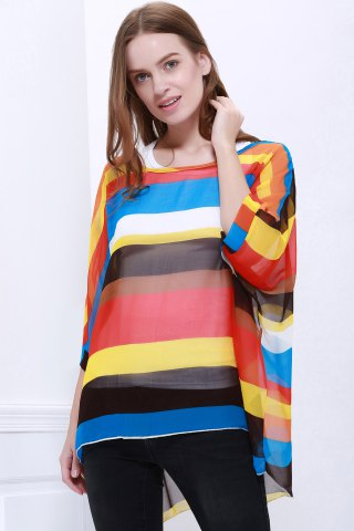 Fancy Colorful Stripe Printed Asymmetric Batwing Sleeve Summer Blouse - L AS THE PICTURE Mobile