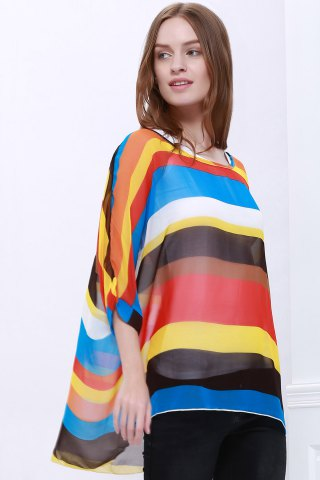 Trendy Colorful Stripe Printed Asymmetric Batwing Sleeve Summer Blouse - L AS THE PICTURE Mobile