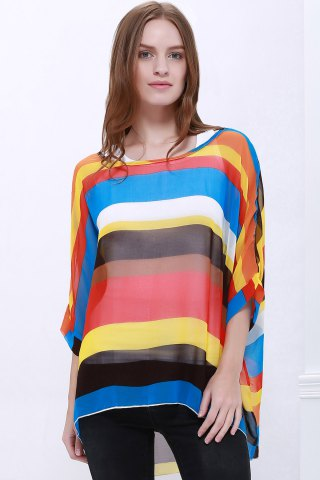 Outfits Colorful Stripe Printed Asymmetric Batwing Sleeve Summer Blouse AS THE PICTURE L
