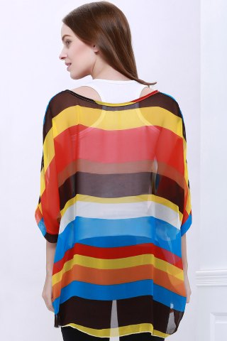 Shop Colorful Stripe Printed Asymmetric Batwing Sleeve Summer Blouse - L AS THE PICTURE Mobile