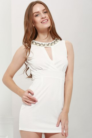 Sexy Plunging Neck Solid Color Bead Embellished Women's Party Dress - White - One Size