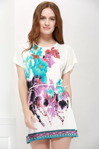 Fancy Gorgeous Scoop Neck Bat-Wing Sleeve Floral Print Lace-Up Women 's Blouse AS THE PICTURE L