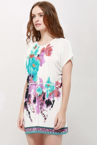 Shop Gorgeous Scoop Neck Bat-Wing Sleeve Floral Print Lace-Up Women 's Blouse - L AS THE PICTURE Mobile