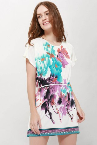 Trendy Gorgeous Scoop Neck Bat-Wing Sleeve Floral Print Lace-Up Women 's Blouse - L AS THE PICTURE Mobile