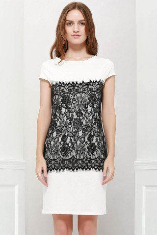 Chic Stylish Round Collar Short Sleeve Lace Spliced Bodycon Women's Dress WHITE S