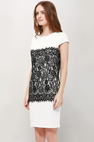 New Stylish Round Collar Short Sleeve Lace Spliced Bodycon Women's Dress - M WHITE Mobile