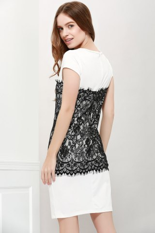 Store Stylish Round Collar Short Sleeve Lace Spliced Bodycon Women's Dress - L WHITE Mobile