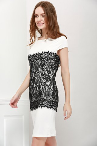 New Stylish Round Collar Short Sleeve Lace Spliced Bodycon Women's Dress - L WHITE Mobile