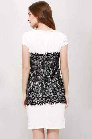 Shop Stylish Round Collar Short Sleeve Lace Spliced Bodycon Women's Dress - L WHITE Mobile