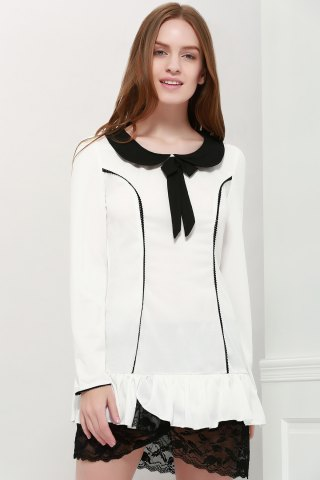 Preppy Style Peter Pan Collar Color Block Long Sleeve Women's Dress - WHITE L