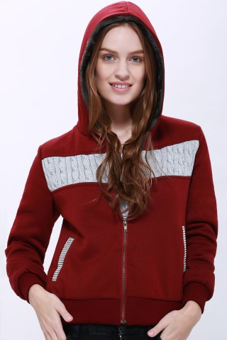 Fashionable Zippered Long Sleeve Hoodie For Women - Purplish Red - L